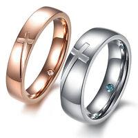 Stainless Steel Cross Couples Engagement Wedding Band Promise Ring Women Men