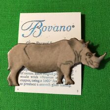 Bovano of Cheshire Enamel on Copper Metal Pin Brooch RHINO Animal FREE SHIPPING