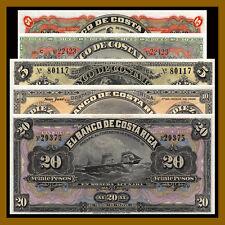 Costa Rica 5 10 20 Colones & 5 10 Pesos (5 Pcs Set), 1899-1901 AU/UNC