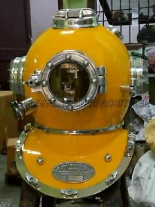 Yellow Antique Scuba Divers Vintage Style  Helmet Morse Diving Decor Solid Gift