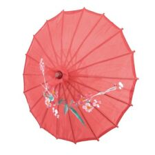 "Red Cloth Bamboo 21"" Dia Chinese Oriental Umbrella Parasol WS M5F4 I1M5"