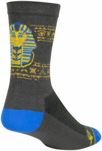 SockGuy Ancient Crew Socks - 6 inch, Gray/Yellow/Blue, Large/X-Large