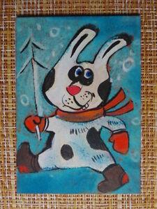 ACEO original pastel painting outsider folk art #010250 surreal funny rabbit