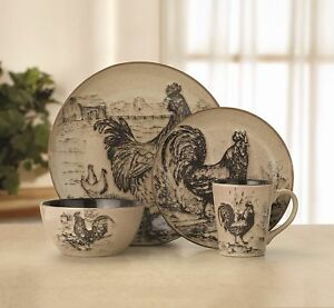 Rooster 16 PC Dinnerware Dish Set 4 Stoneware Bowl Mug Plates Country Style S