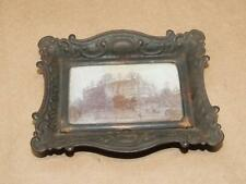 Art Nouveau Picture Frame Style Small Footed Tray With Photo Under Glass