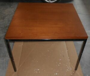 VTG John Widdicomb End Table for Steelcase ~ Walnut w/Tubular Steel Legs 30x30