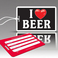 TagCrazy Funny Luggage Tags, I Heart Beer Design, Durable Plastic Loops, 1 Pack