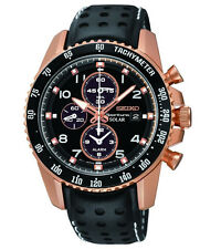 Seiko Sportura Mens Alarm Chronograph Rose Gold Tone Leather Quartz Watch SSC274