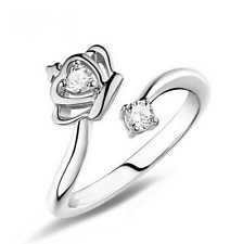New Women Silver Crown Open Adjustable Ring Fashion Crystal Ring !