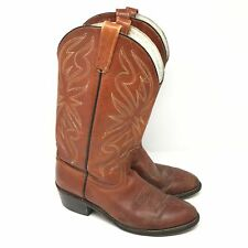 Men's VINTAGE Acme 4668 Western Boots Size 9D Brown Leather Cowboy Stitched H3