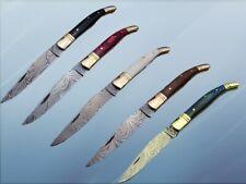 5 pieces Damascus steel Laguiole folding knife with Leather Sheath