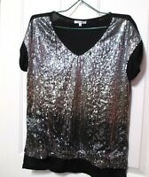 Valleygirl Ladies Black and silver sequined short sleeved top size 14
