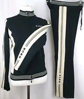 Vtg BCBG MAXAZRIA Womens Size S Two-Piece Jacket & Pant Tracksuit Black w/ Cream