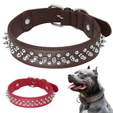 Leather Spiked Studded Dog Collar Heavy Duty Brown for Medium Large Dogs Pitbull