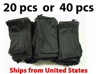 20 or 40 Black Micro Fiber Sunglasses Carrying Pouch Soft Case Glasses Bag USA