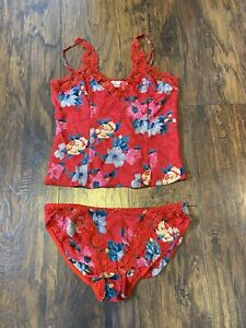 Silkscreen Women's Red Medium Lingerie Top & Bottom Floral Silk Lacey Camisole