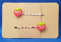 STRAWBERRY Fruit Handmade Bobby PIn Hair clips - Set of 2