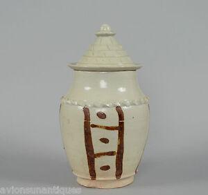 Chinese Porcelain Pale Glaze Song Dynasty Lidded Jar Roof Tile Shape Lid