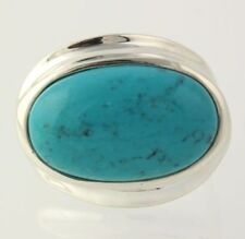 NEW Dyed Howlite Ring - 925 Sterling Silver Women's Size 9 Oval Blue Stone