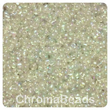 100g CLEAR RAINBOW glass seed beads - choose size 6/0, 8/0 or 11/0 (4, 3 or 2mm)