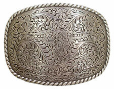 Western Decor Antique Silver Plated Rope Border Engraved Buckle