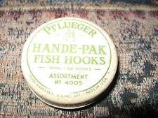Pflueger-Hande Pak Fish Hooks-tin only-no. 4005-stream & lake fishing-