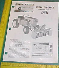 WHEEL HORSE SNOW THROWER 6-9121 INSTRUCT & PARTS LIST