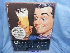 Metal Tin Advertising Sign Drinking Beer Calendar Joke Pub Garage Sign Present
