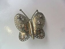 VINTAGE SILVER WHITE METAL BUTTERFLY  LADIES PIN BROOCH