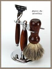 Shaving Razor Set Handmade Rare Snake Wood DE Safety Mach 3 Fusion 356a