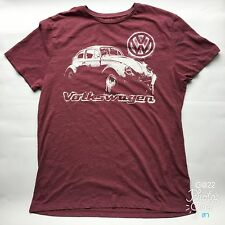 """Mens F&F """"Volkswagen"""" Official Licensed Product Maroon Size L T Shirt P-P 20"""""""