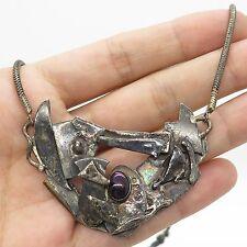 Signed Vtg 925 Sterling Silver Tourmaline Gemstone Modernist Pendant Necklace 17