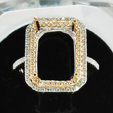 8x10mm Emerald Cut Solid 14Kt White Yellow Gold Semi Mount Natural Diamond Ring