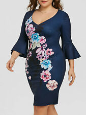 TALLA GRANDE xl-5xl Mujer Vestido de campana manga floral lápiz fiesta noche