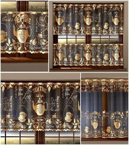 CAFE NET CURTAIN - GOLD TEA ON BLACK WARP - SOLD BY METERS