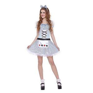 Miss Wonderland Teen Girl's Halloween Costume Juniors One Size Dress Only #5372