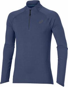 Asics Men's 1/2 Zip Top Sports Running Long Sleeve Jersey Top - Blue - New