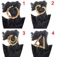 Large Bamboo Earrings  Hip-Hop Gold/Silver Ladies Hoop/Hoop Bling Circle R*T