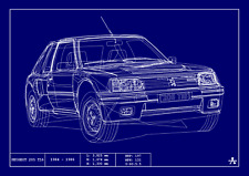 POSTER - PEUGEOT 205 T16 BLUEPRINT - (A4 A3 A2 Sizes) - Technical Drawing Stats