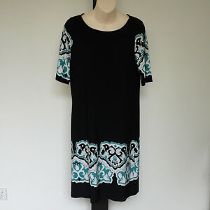 'ESPOSITO' AS NEW SIZE '12' BLACK GREEN & WHITE SILKY STRETCH SHORT SLEEVE DRESS