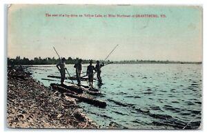 Log Drive on Yellow Lake, Northeast of Grantsburg, WI Hand-Colored Postcard *7H7