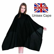 Hair Cutting Cape Gown Salon Hairdresser Barber No Sleeves Velcro Neck BLACK. D+