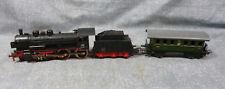 Vintage Marklin DB 38 1807 HO Scale Locomotive with Tender & Passenger Car