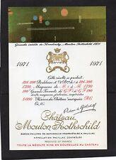 PAUILLAC 1EGCC ETIQUETTE CHATEAU MOUTON ROTHSCHILD1971 RC 1.5L DECOREE§12/08/16§