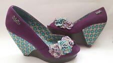 RUBY SHOO LADIES PURPLE OPENTOE FLOWER DETAIL WEDGES SIZE UK 3 (36)