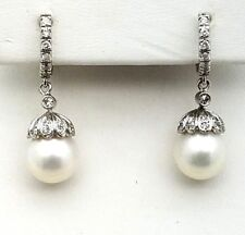14K White Gold Akoya Pearl 10mm Dangle Drop Diamond Earrings