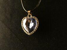 Anhänger 24 Karat Vergoldet Herz Necklace Kette Liebe Love Hellblau Strass