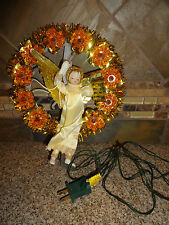 Vintage Christmas/Holiday Tree Topper WREATH Gold Lights Angel Taiwan