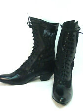 Oak Tree Farms Black Leather and Lace cowgirl Old West Granny Vintage Style 7