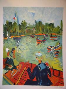 Jean-Claude PICOT (1933) LITHO ORIGINALE PLACE DES ART PARIS MARIN SEINE BARQUE
